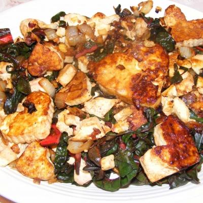 Caramelized Tofu with Swiss Chard